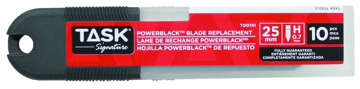 Task Tools T00741 Signature 25mm Power Snap-Off Utility Knife Blades, Black, 10-Pack