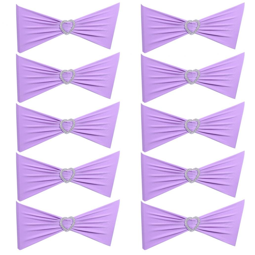 Bodhi2000 10Pcs Spandex Chair Sashes Bows Elastic Chair Bands With Heart Buckle Slider Sashes Bows For Wedding Decorations (Champagne) TRTAZ11A
