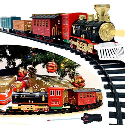 Freight Express Train (Joyin Express Christmas Train Set with Remote Control, Lights and Sounds, 12 Tracks, 4 Train Cars and Railway Toy Train for Christmas Toy, Christmas Gift and Christmas Tree Decoration by Joyin Toy)