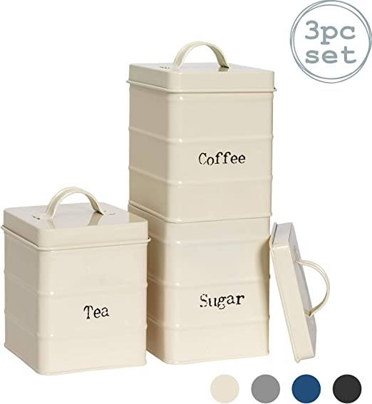 Harbour Housewares 3 Piece Industrial Tea Coffee Sugar Canister Set Vintage Style Steel Kitchen Storage Caddy With Lid Cream