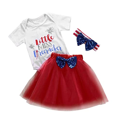 4b2189313 Newborn Kids Fashion Clothes GoodLock Baby Girls Outfits 4th of July Romper+ Skirt+Headband