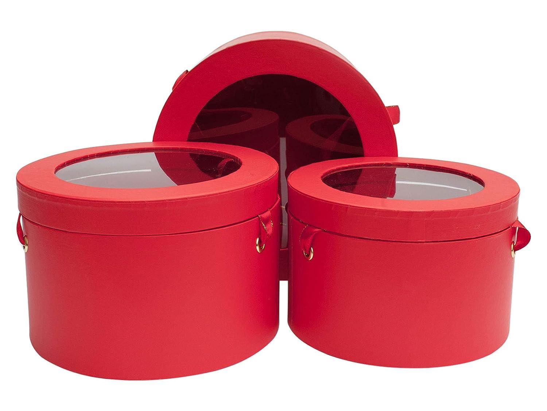 Interno a Doppio Strato e Manici a Nastro in Raso Rosso e Oro Stampa Rossa Con Parte Superiore Trasparente Emartbuy Set di 3 Confezione Regalo Rigida di Lusso Rotonda Per Fiori