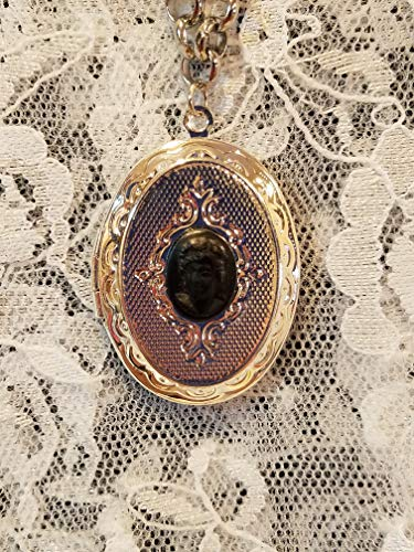 Black Lady Cameo Silvertone Locket Necklace Mourning -
