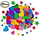 Arts & Crafts : 180 Pieces Glitter Foam Stickers Self Adhesive, Stars and Mini Heart Shapes Glitter Stickers for Kid's Arts Craft Supplies Greeting Cards Home Decoration