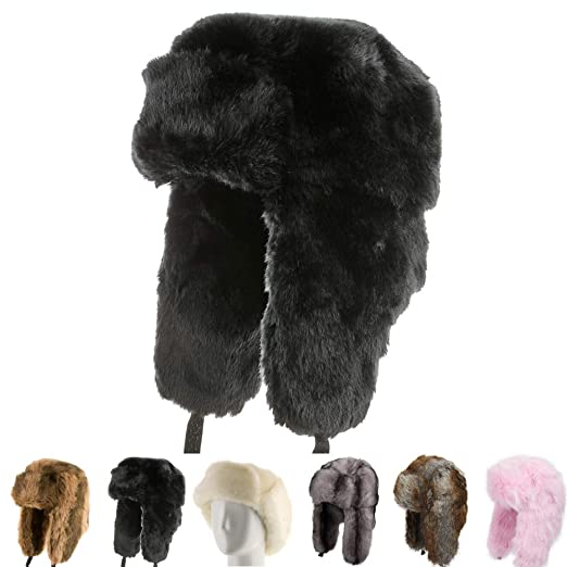 d0174d584b3 Explorer Ushanka Winter Trapper Faux Fur Pilot Hat with Ear Flaps BLACK 7  1 2