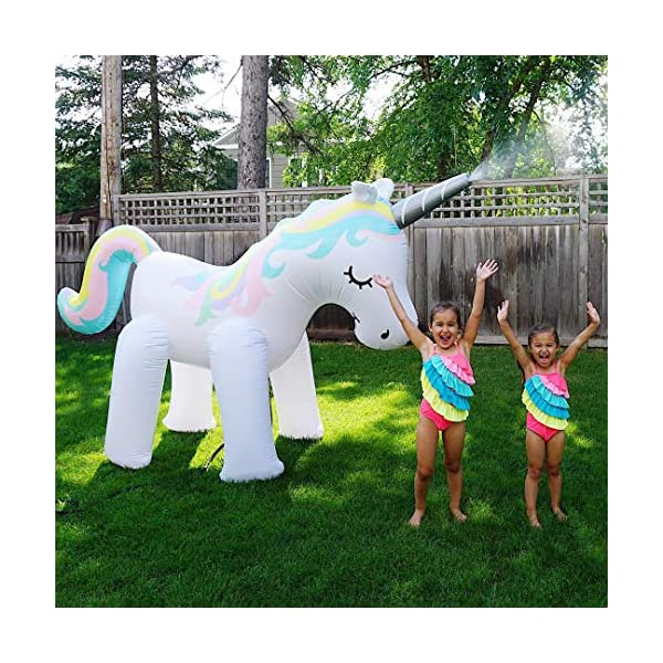 LANGXUN Ginormous Inflatable Unicorn Yard Sprinkler Toy for Kids, Perfect for Unicorn Party Supplies & Outdoor Summer Sprays Water Toys for Toddlers 9