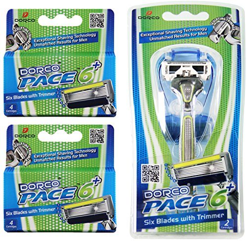 dorco-pace-6-plus-six-blade-razor-system-with-trimmer-value-pack-10-cartridges-1-handle