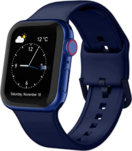 Adepoy Compatible with Apple Watch Bands 44mm 42mm 40mm 38mm, Soft Silicone Sport Wristbands Replacement Strap with Classic Clasp for iWatch Series SE 6 5 4 3 2 1 for Women Men, Midnight Blue 38/40mm