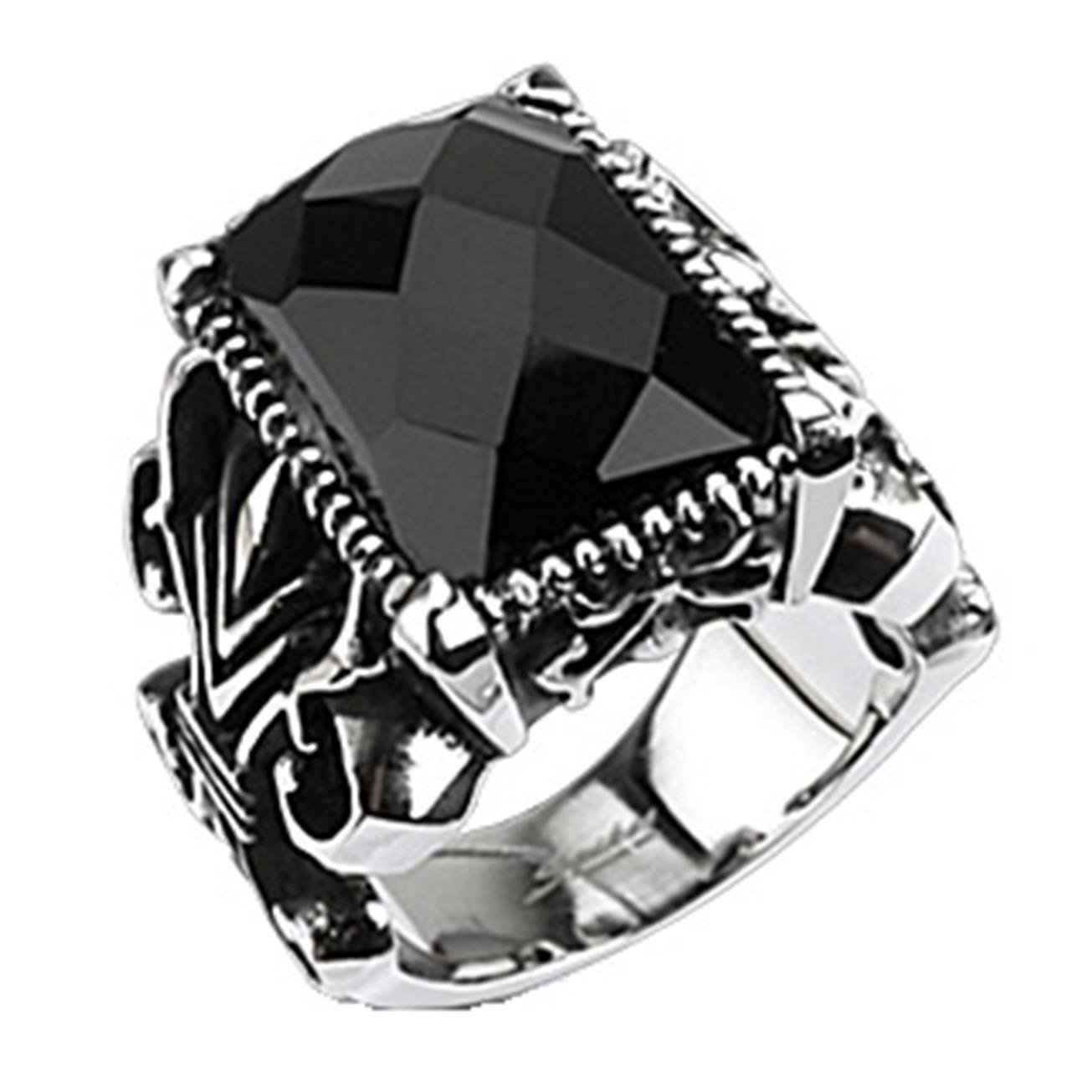 Paula & Fritz Stainless Steel Ring Surgical Steel 316L Gothic Ring Black Onyx Stone - Size = 69 (22.0) - [R-Q5196-13]
