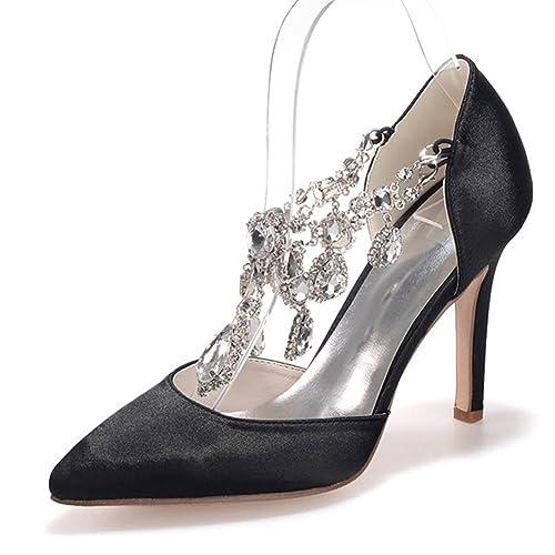Elobaby Women s High Heels Summer Rhinestone for Wedding Satin Kitten  Heel Silk Customized e79641a88b07