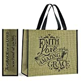 Faith Love and Amazing Grace Lord Burlap Look 20 x 17.5 Inch Giant Nylon Tote Bag with Handles Pack of 12