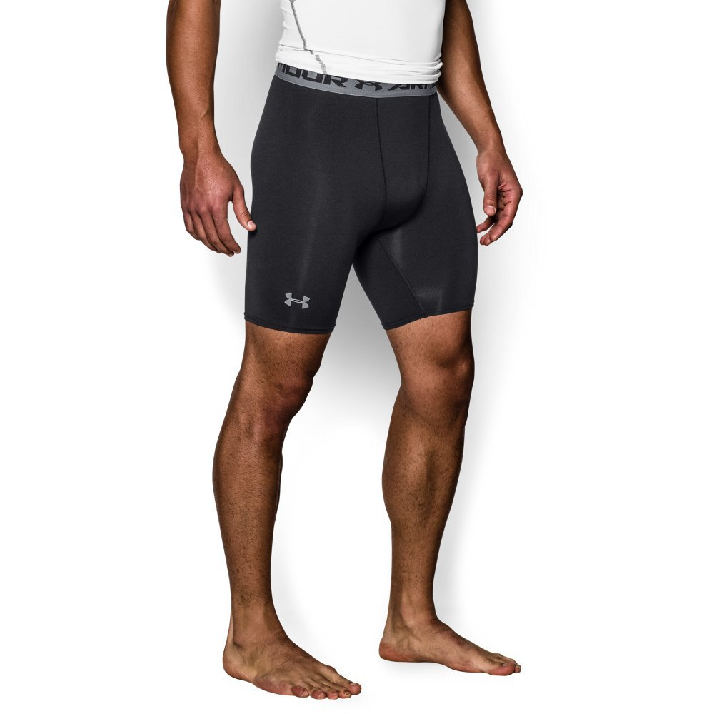 Under Armour Men's HeatGear Armour Compression Shorts – Mid, Black (001)/Steel, Large by Under Armour (Image #1)