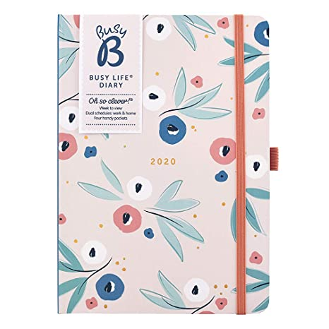 Busy B 2020 Floral Busy Life Diary - A5 Planner with Dual schedules and Pockets