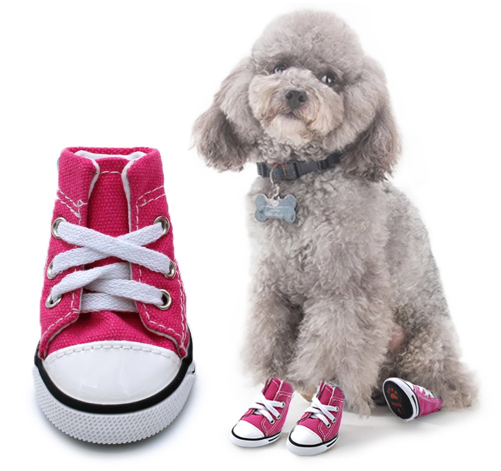 Scheppend Anti-Slip Dog Boots Small Dogs Sport Shoes Fashion Pet Sneakers,Pink #1(1.6'' Lx1.2 W)