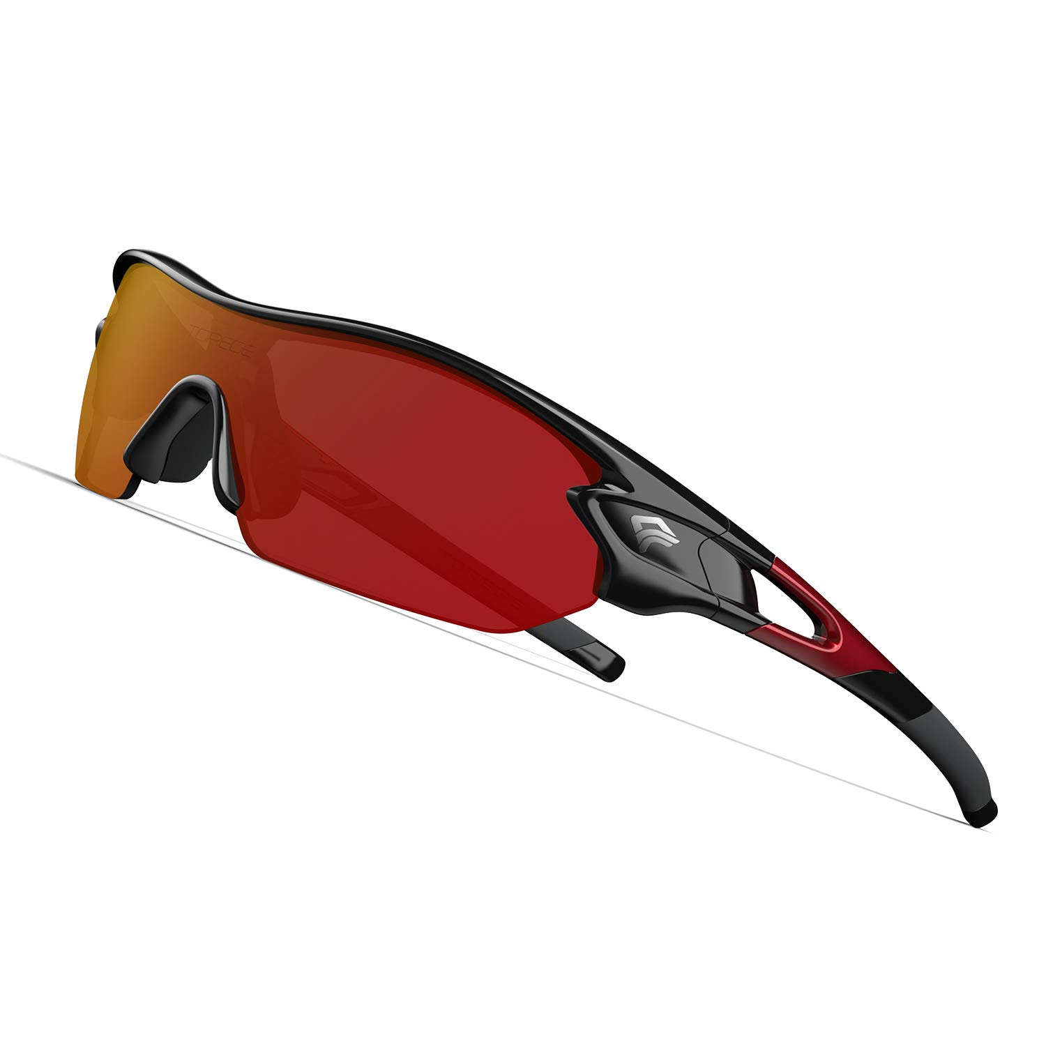 TOREGE Polarized Sports Sunglasses with 3 Interchangeable Lenes for Men Women Cycling Running Driving Fishing Golf Baseball Glasses TR002 Upgrade(Black Red &Red Lens) by TOREGE