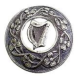 AAR Men,s Scottish S Irish Harp Kilt Brooch Fly Plaid Antique Finish 3'' (7cm) S