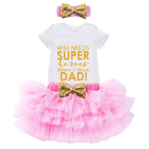 Amazon.com: Baby Girls Super Dad Outfits - Pink Tutu Dress Set ...
