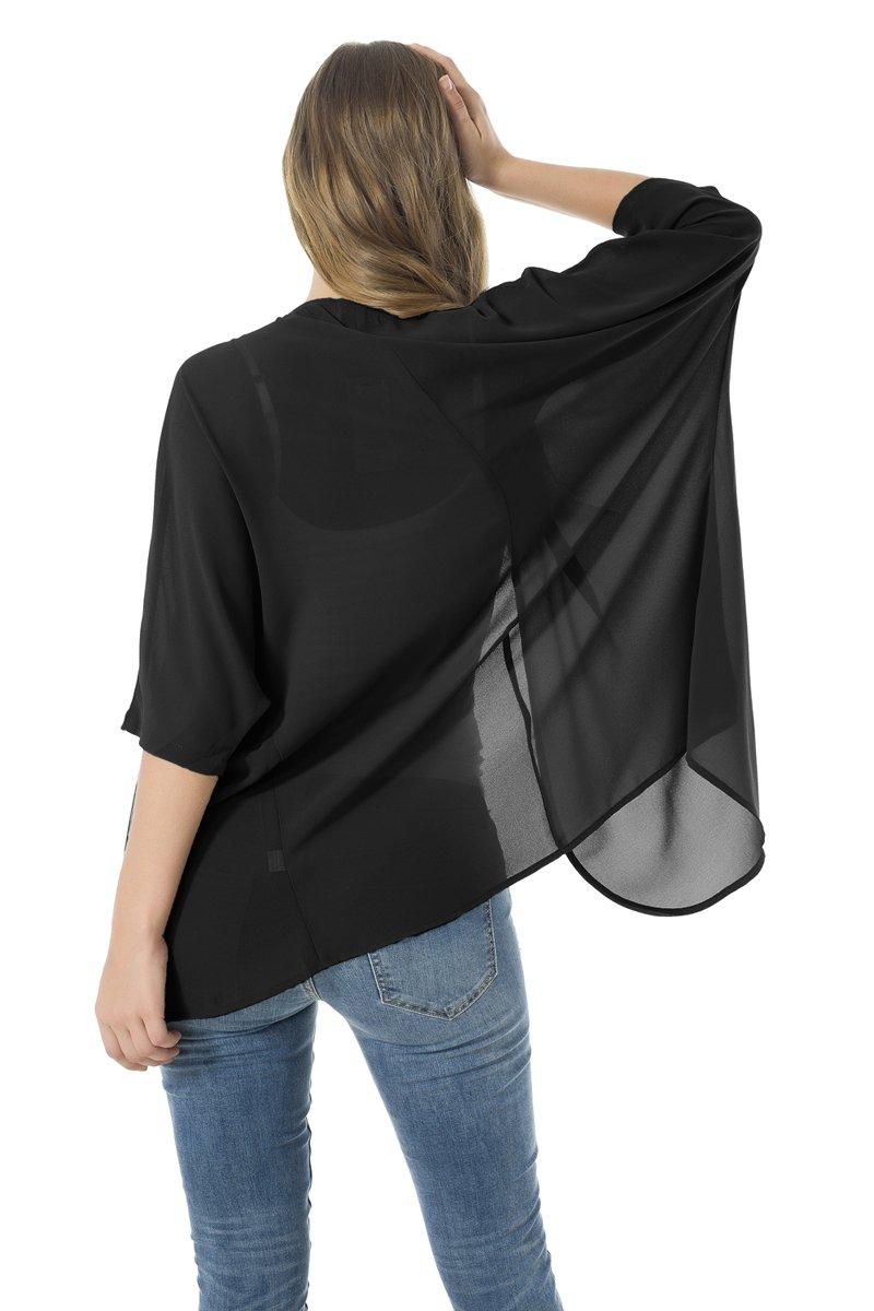 NB Women's Beachwear Sheer Chiffon Kimono Cardigan Solid Casual Capes Beach Cover up (XL, Black) by NB (Image #2)