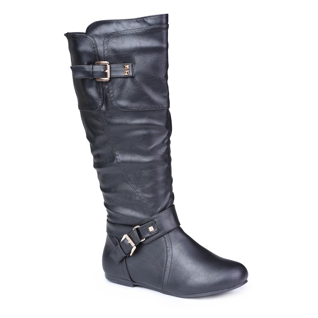 Twisted Women's Shelly Wide Width, Wide Calf Stitched Pannel Tall Boots with Pyramid Studs - BLACK, Size 10 W or 10 C/D