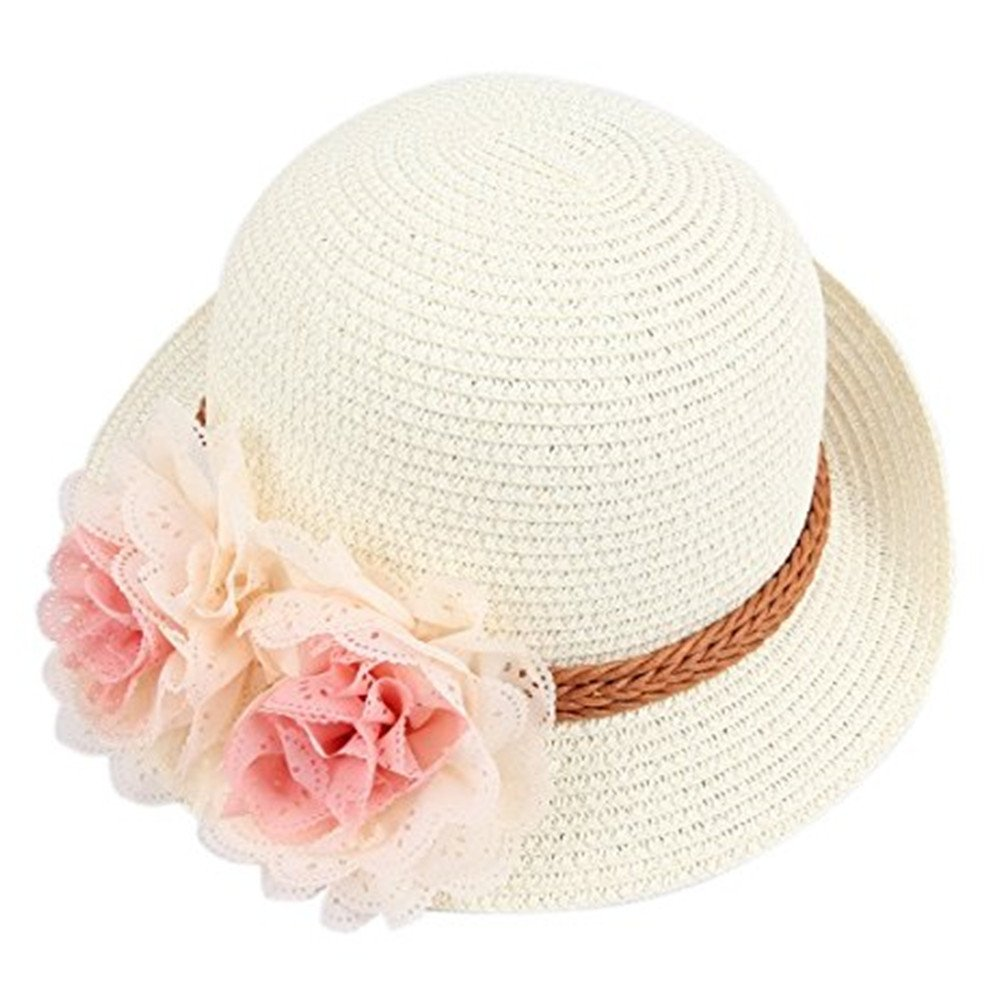 Dealzip Inc Excellent Summer Hats, Lovely Kids Little Girls Girly Summer Straw Beach Sun Hat with Flower Accent (Cream White) by Dealzip Inc