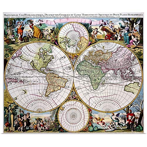 (GREATBIGCANVAS Poster Print Entitled Double Hemisphere Polar Map in The 17th Century by 12