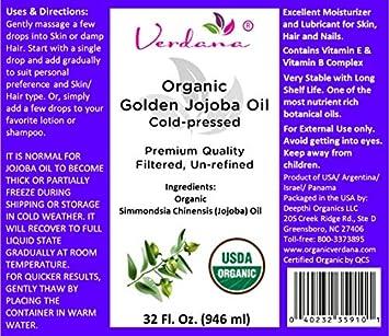 Organic Verdana USDA Certified Organic Golden Jojoba Oil, Cold Pressed, Unrefined, 32 Fl. Oz. – Deepthi Organics