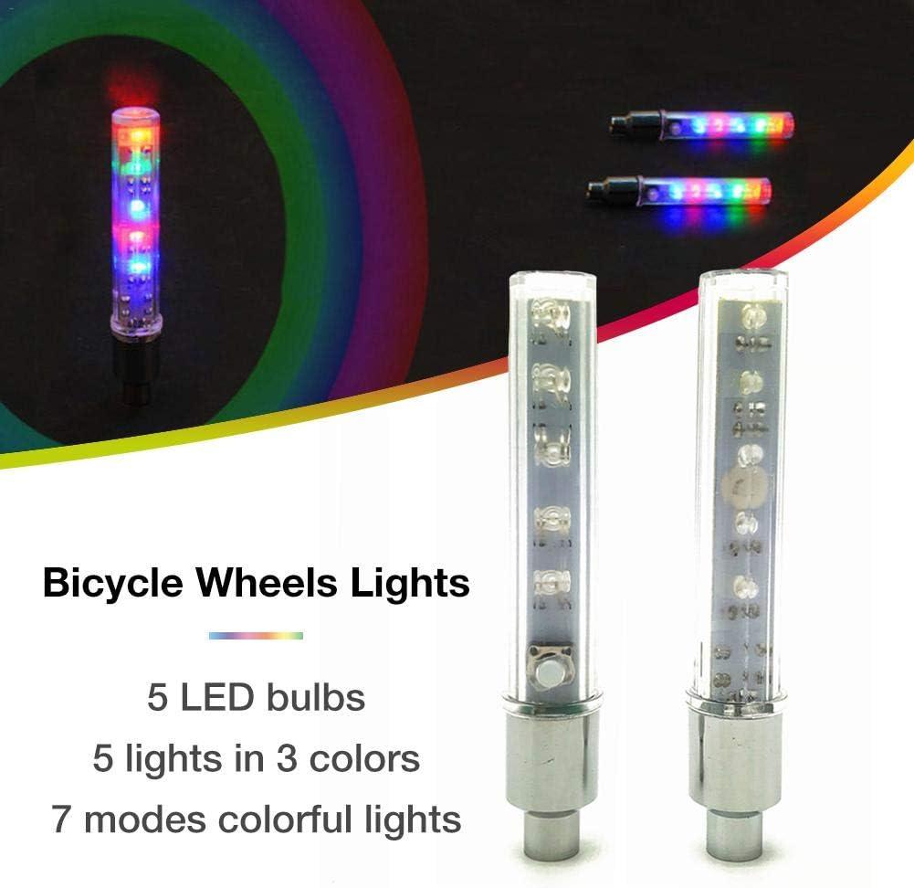 pack lumi/ère de valve de roue de bicyclette tige de valve de pneu de v/élo lightLED imperm/éable lumi/ères de roue de bicyclette lampe clignotante au n/éon brillent dans lobscurit/é cool 2pcs