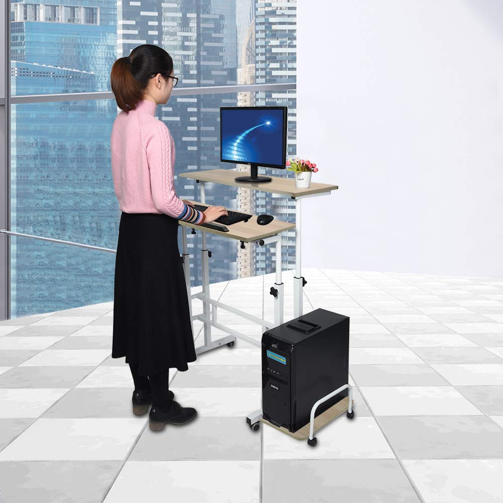 Adjustable Standing Desk - Controllable Height Computer Table with Swinging Footrest Optional for Standing and Seating 2 Modes (Yellow) by Hunzed Home & Kitchen (Image #2)