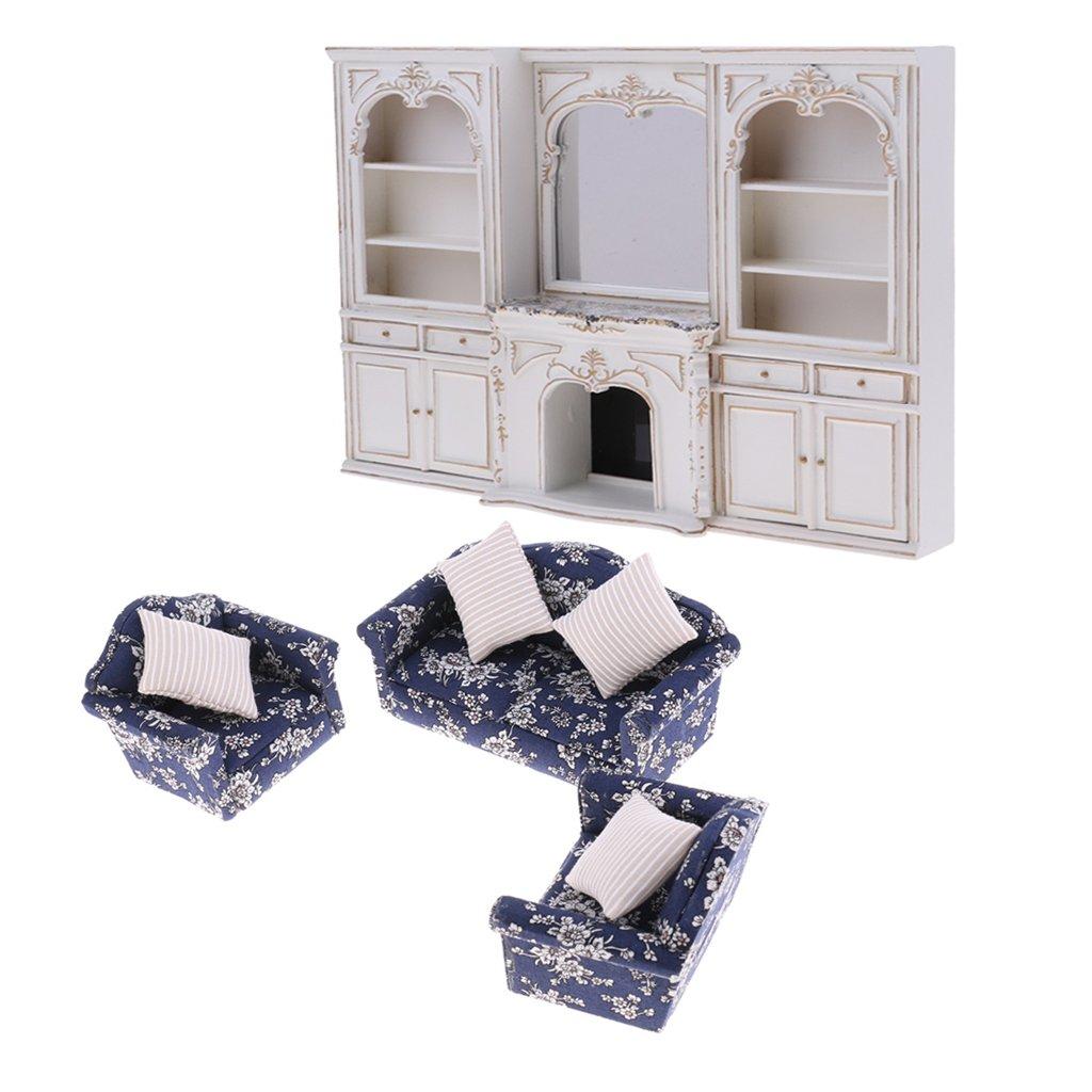 para barato Homyl Set de 1/12 Miniatura Sofá con con con Cojines + Gabinete de Exhibición Muebles de Casa de Muñecas  descuento de ventas en línea