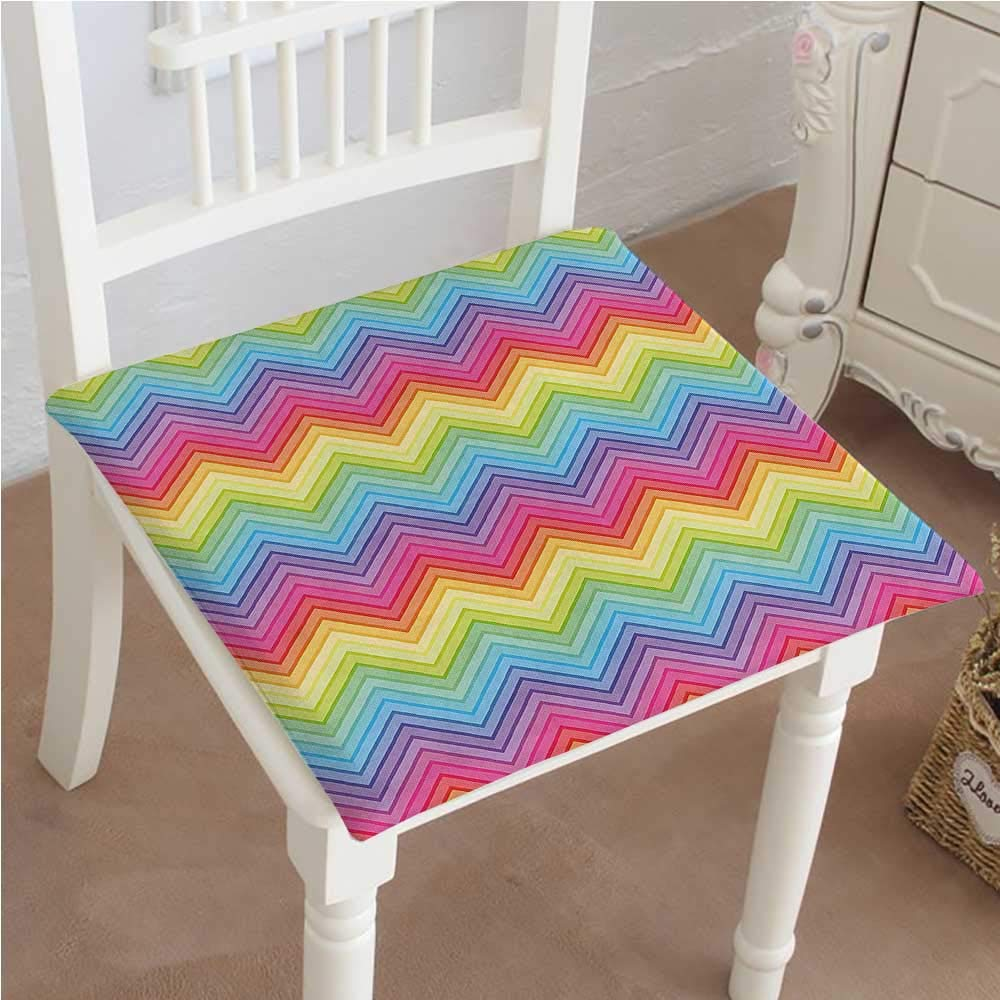 Mikihome Chair Pad Soft Seat Cushion Rainbow Sharp Design Fancy Expandable Polyethylene Stuffed Machine Washable 32''x32''x2pcs