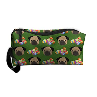 Easter Eggs Pug Puppy Dog Cute Pattern Portable Make-up Receive Bag Hand Cosmetic Bag Makeup Bag Sewing Kit Medicine Bag With Hanging Zipper For Home Office Travel Camping Sport Gym Outdoor