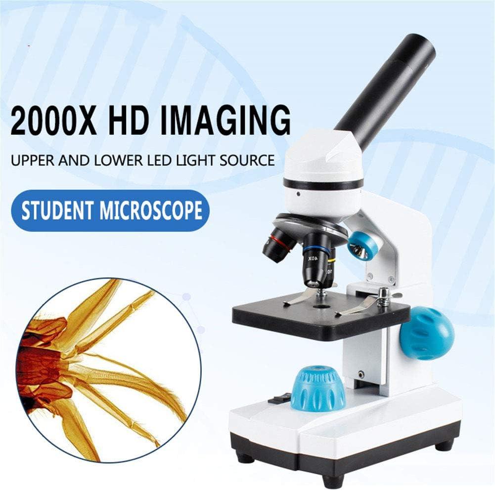 ZYFWBDZ Microscope de Laboratoire 2000x Bio HD Microscope 13 Pi/èces Accessoires /électroniques Oculaire Monoculaire /Étudiant Lab Education LED USB