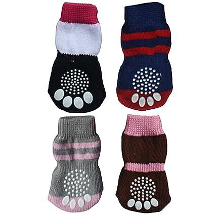 BEETEST Linda mascota Anti Slip elástico tejer calcetines para cachorro perro gato Color al azar,