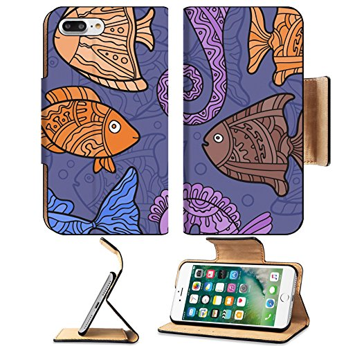 Luxlady Premium Apple iPhone 7 Plus Flip Pu Leather Wallet Case iPhone7 Plus 45022635 Vector Ornate Sea Seamless Pattern with fishes seahorses and water (Contour Dessert)