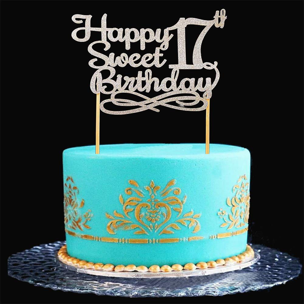 Swell Silver Happy Sweet 17Th Birthday Cake Topper Silver Paper Cake Funny Birthday Cards Online Fluifree Goldxyz