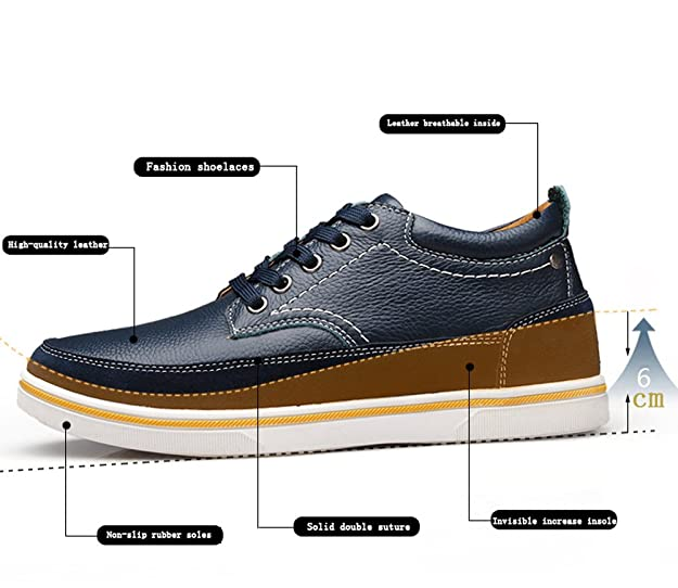 ailishabroy Herren echtes Leder Schuhe Aufzug 2.36 In