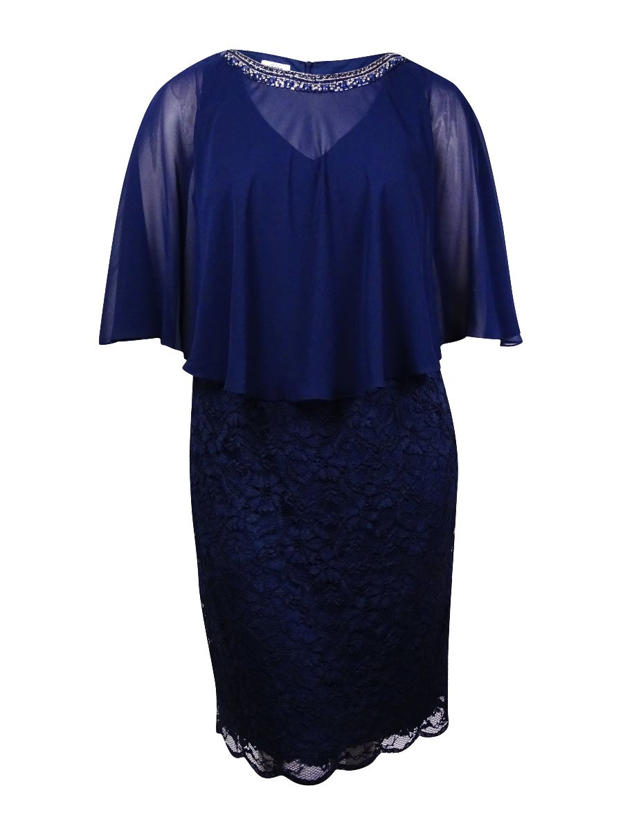 Patra Women's Capelet Chiffon Bead Embellished Neckline Lace Dress (20W, Navy)
