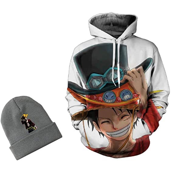 Amazon.com: Zee Design One Piece Anime Hoodie Fleece Monkey D Luffy 3D Hoodie w/Beanie Long Sleeve: Clothing