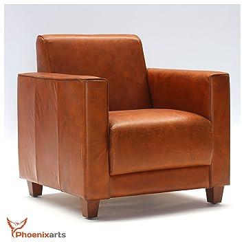 Phoenixarts - Sillón de Piel marrón diseño Lounge Club ...