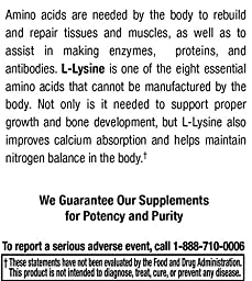 Vegetarian L Lysine HCl by Natural Nutra – 500 mg, 50 Capsules – Free Form Alpha Amino Acids