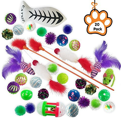Kleeger 20-Pack Assorted Cat Toys Collection Play Set - Mice, Feathers, Crinkle Balls, Catnip Toy