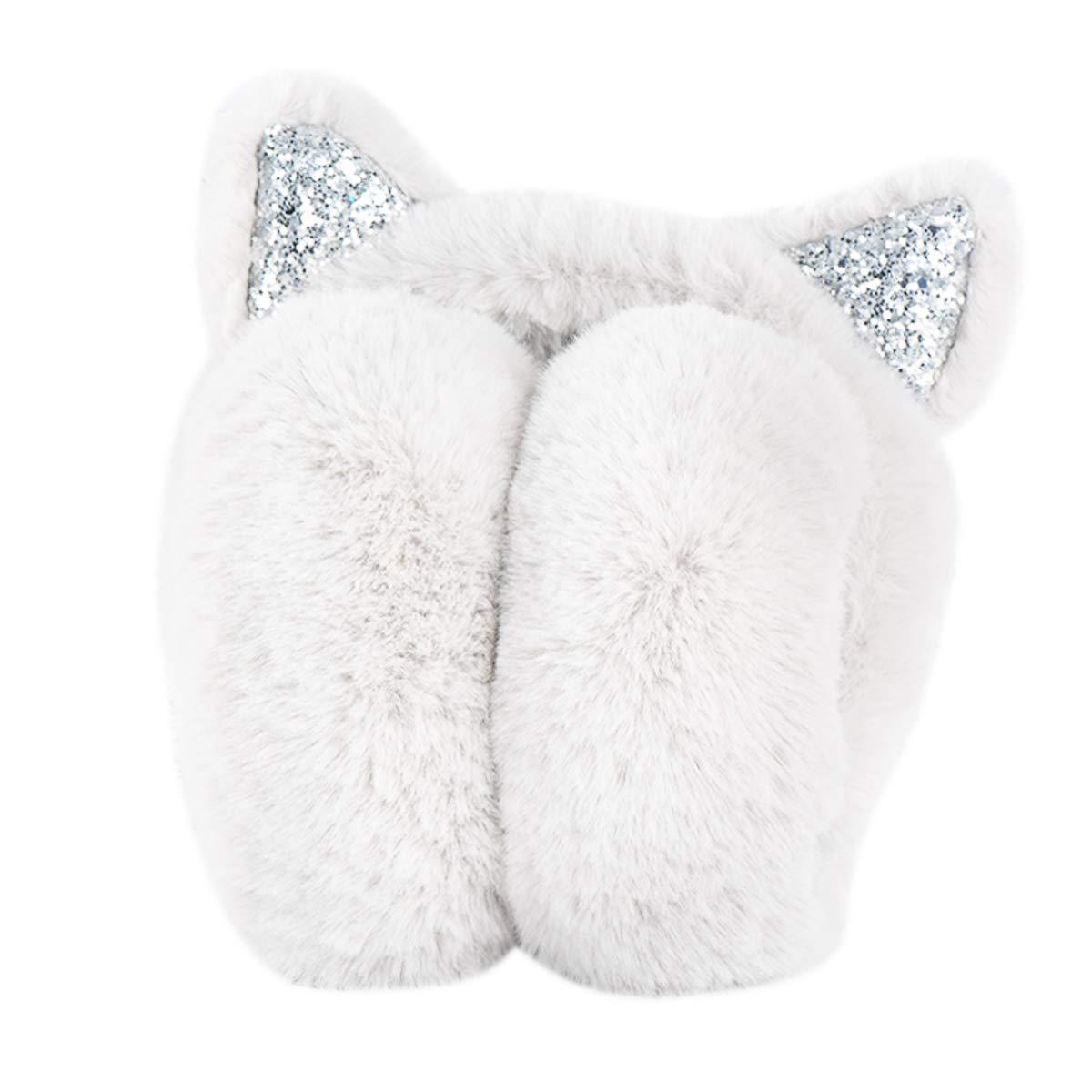 Surblue Women's Winter Warm Cat Ear Earwarmer Knitted Earmuffs White