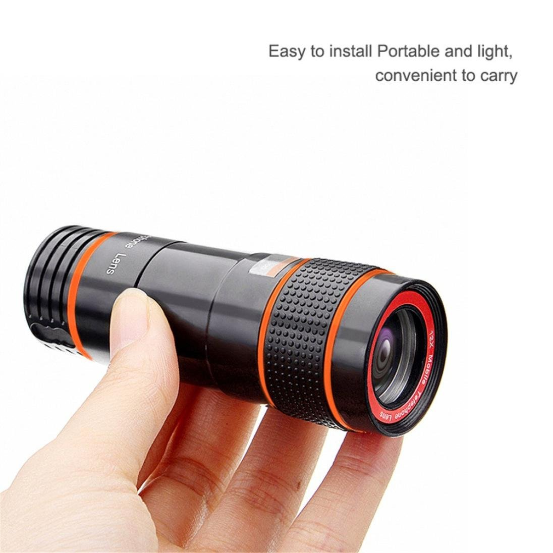 Hot 12X Zoom Telephoto Cell Phone Camera Lens, Tuscom Zoom Telephoto Universal Clip On Lens Kit for iPhone 8/7/6S/6 Plus/5/4,Samsung,Samsung, Google, LG, Android and Other Phones (Black) by Tuscom (Image #6)