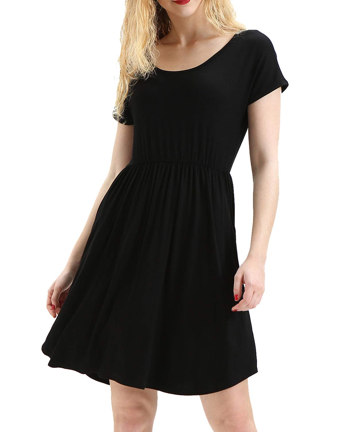 deesdail Mini Dresses for Women Casual, Ladies Round Neck Short Sleeve Midi Dress Swing Classic Long Tunic with Pockets Knee Length Shirts Black L