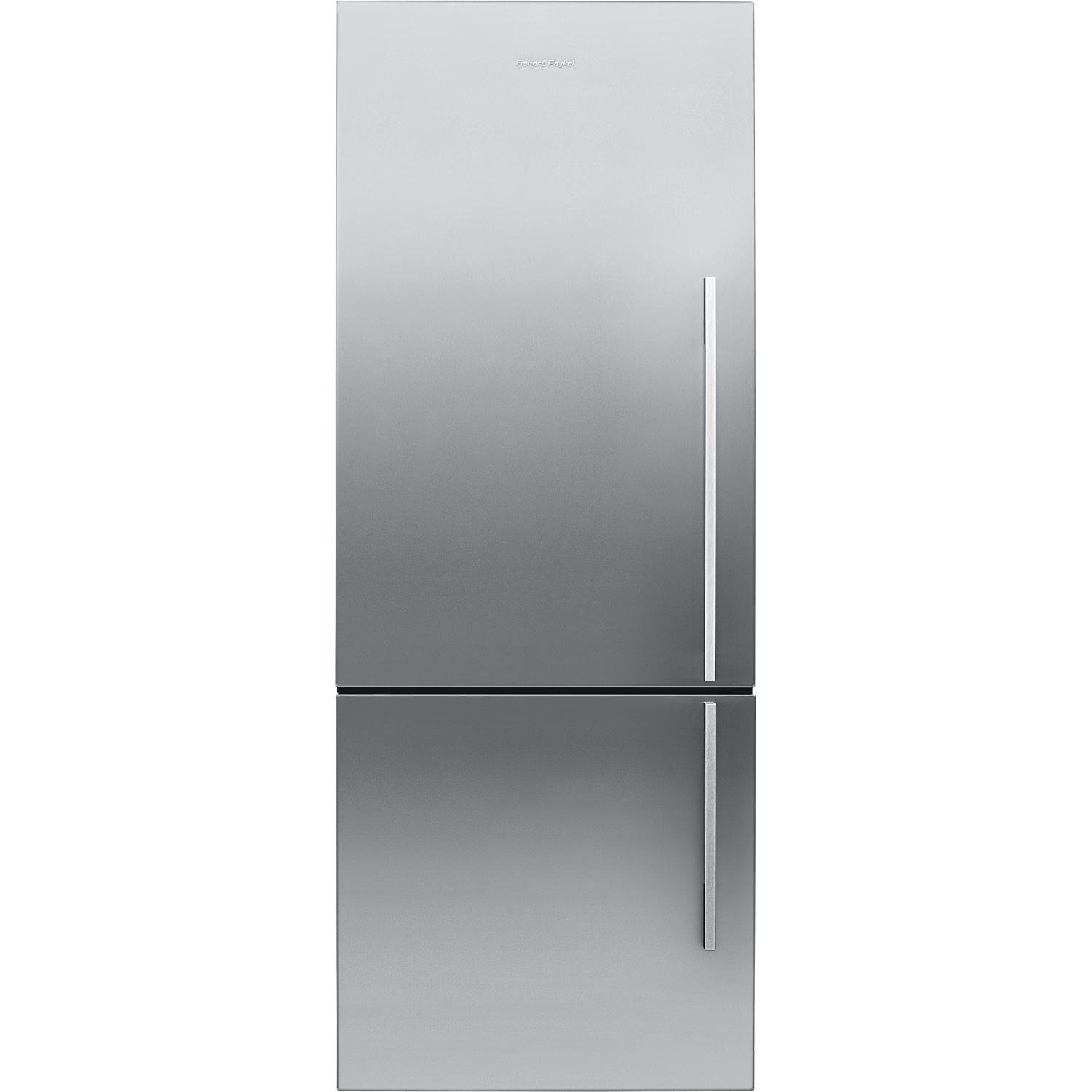 ft Fisher Paykel RF135BDLX4 25 13.4 cu Left Hinge Counter Depth Bottom Freezer Refrigerator With Glass Shelves ActiveSmart Technology LED Lighting and Humidity Control System in Stainless