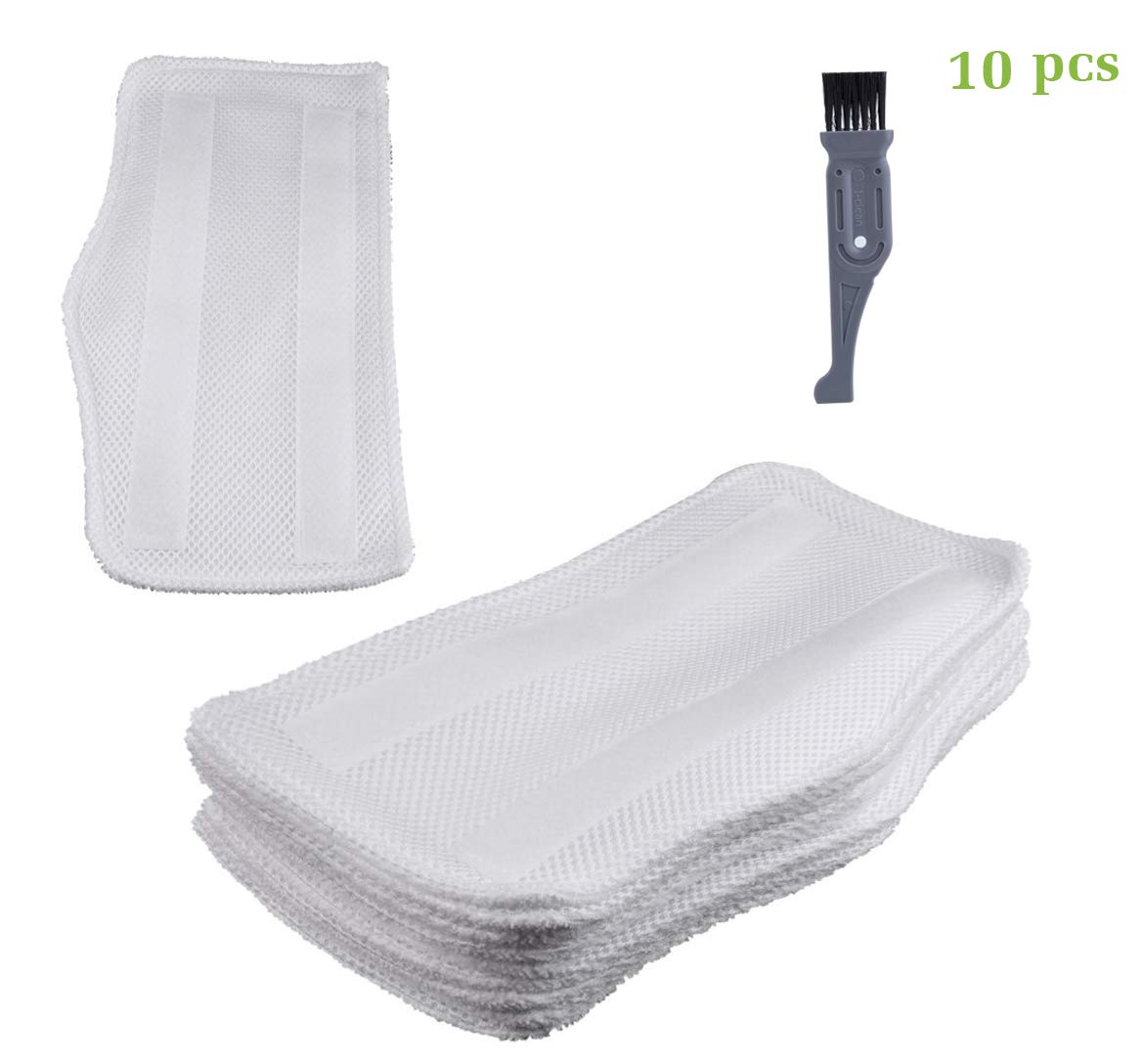I-clean 10PCS Shark S3101 Steam Mop Pads, Replacement Washable Microfiber Pads for S3101 S3202 S3250 S3251,With A Free Cleaner Brush