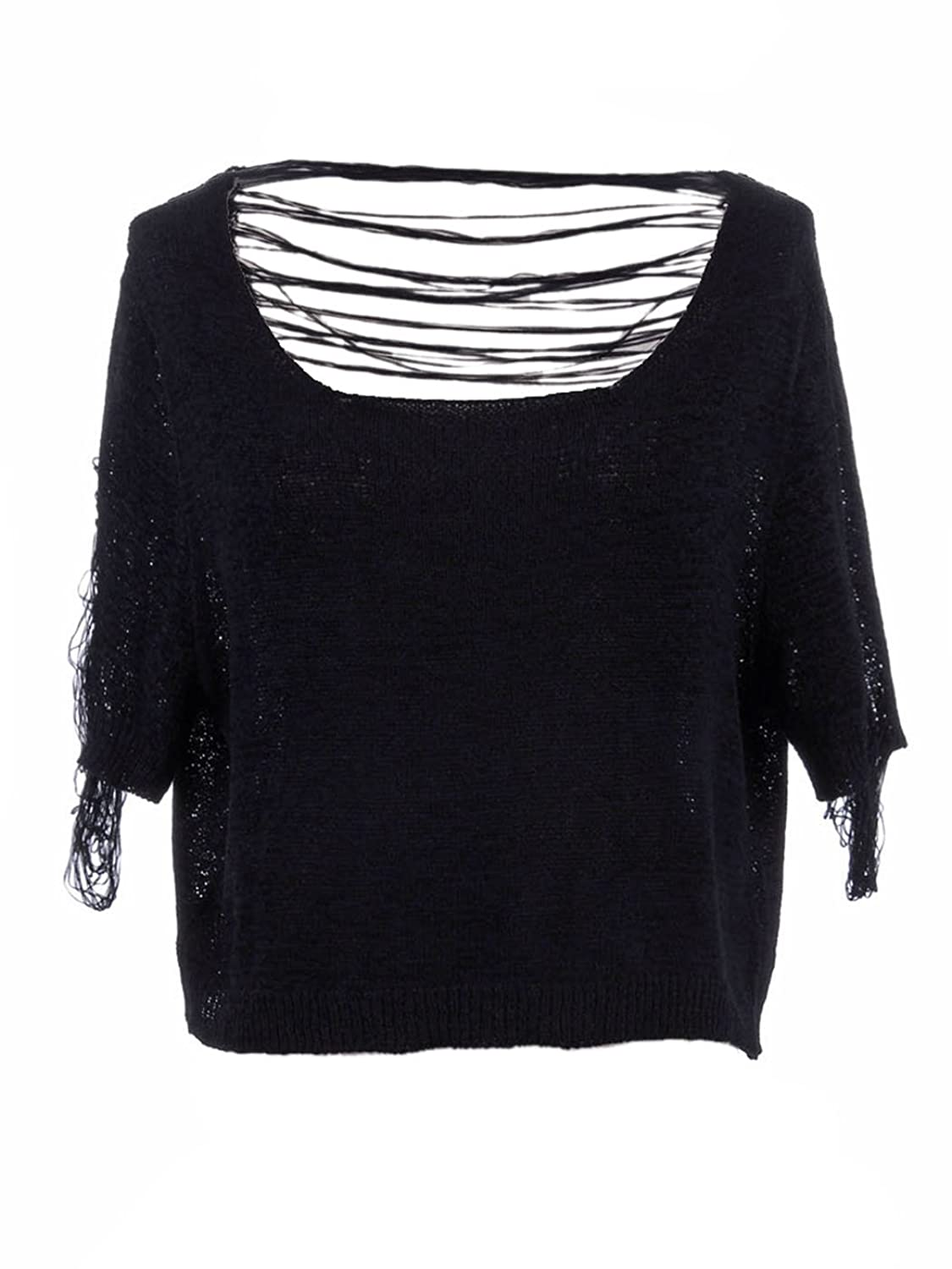 Anna-Kaci S/M Fit Black Low Dip V Back Unraveled Thread Woven Crop Waist Sweater