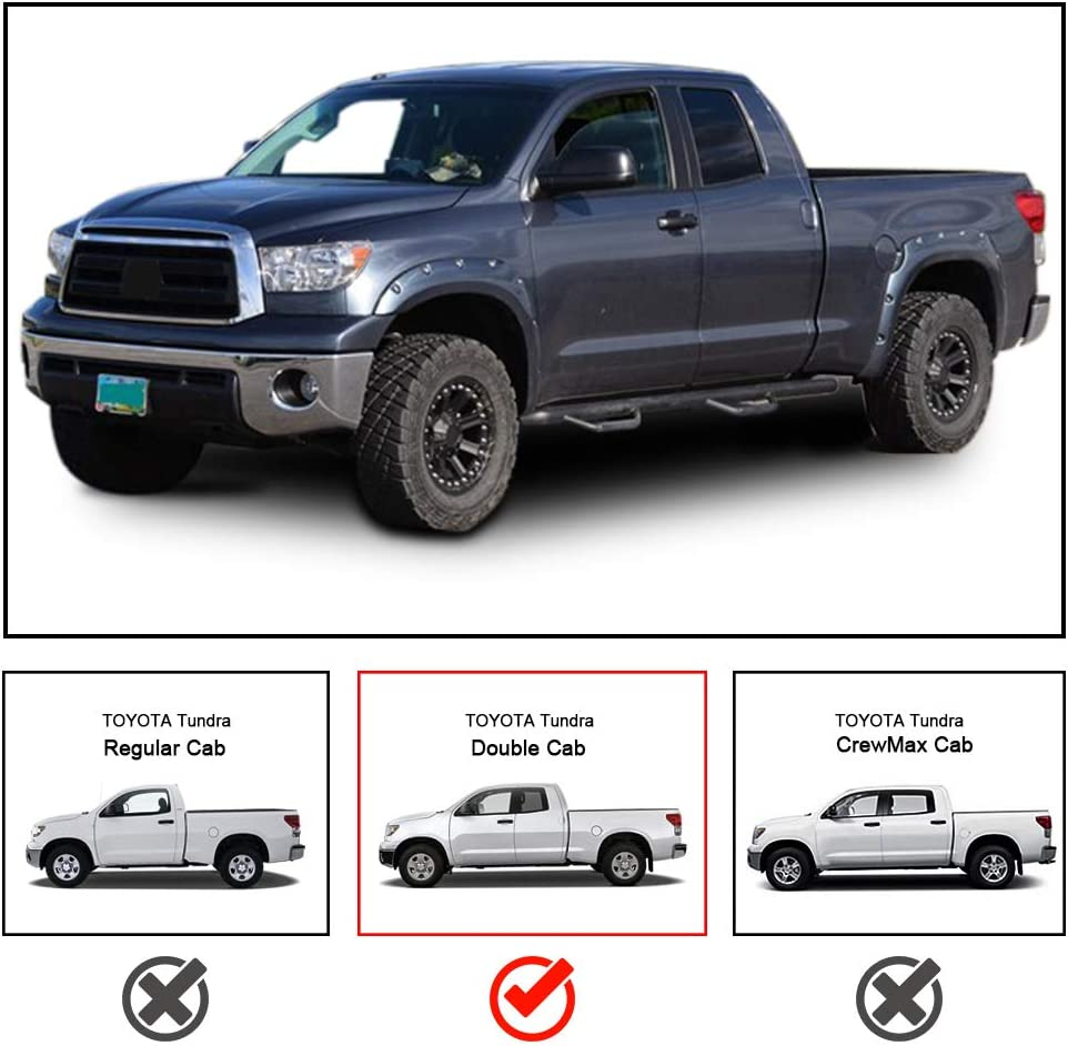 CDG Side Steps Nerf Bar Running Boards for 2007-2020 Toyota Tundra Double Cab 3 Tube Side Steps Rails Bars