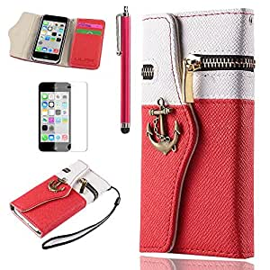iPhone 5C case, iPhone 5c Wallet cover, ULAK Luxury Contrast Colored Anchor Fashion PU Leather Zipper Wallet Wristlet Flip Case Cover For Apple iPhone 5C with Screen Protector and Stylus (White+Red)