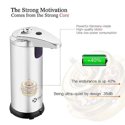 Dispensador de jabón de acero inoxidable dispensador de jabón automático ajustable para cocina y baño 280 ml por yivion: Amazon.es: Hogar